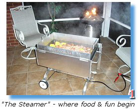 The Steamer cooks seafood on your porch