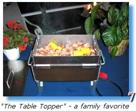 A tabletop seafood steamer for oysters,clams, shrimp, crab