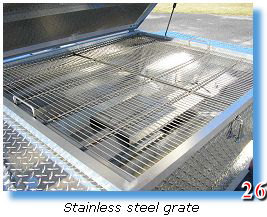 Stainless steel grate in trailer grill