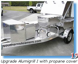 Seafood steamer mounted next to trailer grill
