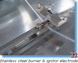 Stainless steel burner & igniter electrode on trailer grill