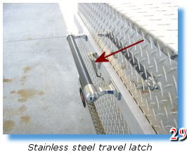 Stainlesss steel travel latch secures trailer grill
