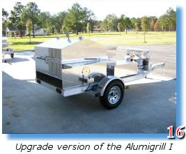 Trailer-mounted barbecue grill with separate seafood steamer
